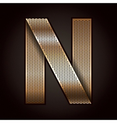 Letter metal gold ribbon - N vector image