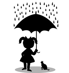 Little girl with a cat under an umbrella vector image