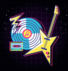 Long play and electric guitar eighties style vector
