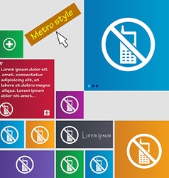 Mobile phone is prohibited icon sign buttons vector