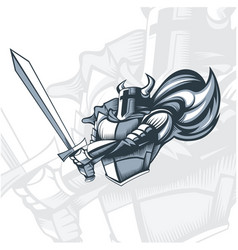 monochrome knight before the attack vector image