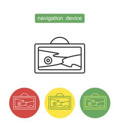 Navigation device outline icons set vector