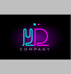 Neon lights alphabet yd y d letter logo icon vector