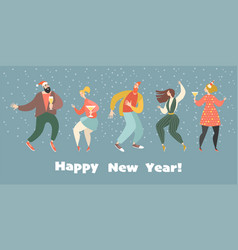 new year greeting card with dancing girls and boys vector image