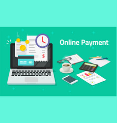 Paying bills online via credit card on laptop vector