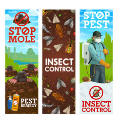 pest control banners worker spraying insecticide vector image