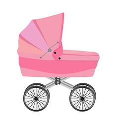 Pink baby pram vector