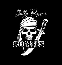 pirate skull with sword jolly roger flag design vector image
