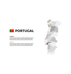 portugal map infographic template slide vector image