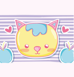 Punchy pastels catand apples vector