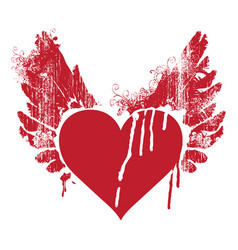 Red abstract flying heart with wings and trickles vector