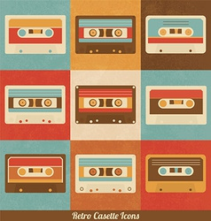 Retro cassette icons vector