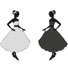 Retro woman silhouette vector image vector image