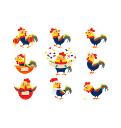 rooster cartoon character set with a cock vector image