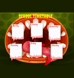 school timetable template with halloween monster vector image