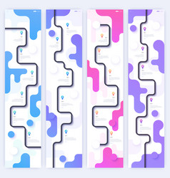 set layouts with trendy gradient designs road vector image