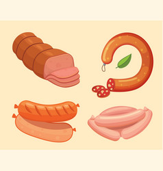 Set of cartoon sausage bacon sliced vector
