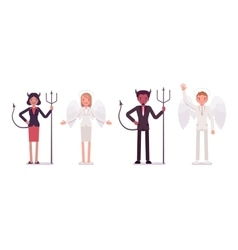 Set of male female angel and devil in a formal vector image