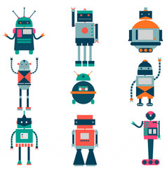 Set of robots in cartoon style isolated vector