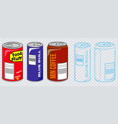 set of various can vector image