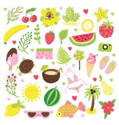 set summer and vacation elements cute cartoon vector image