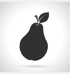 silhouette pear with stem and leaf vector image