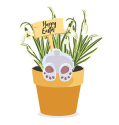 spring happy easter design element bunny in pot vector image