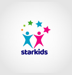 star kids colorful logo sign symbol icon vector image