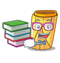 Student with book tamale with corn leaf in cartoon vector