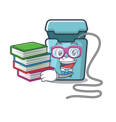 Student with book toy dental floss in a cartoon vector