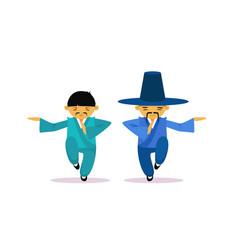 Two asian men cartton character wearing vector