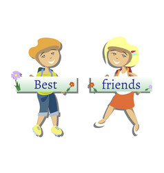 two best friends with text vector image