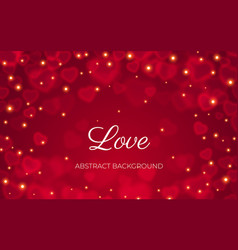 valentine day card love heart bokeh red background vector image
