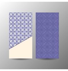 Vertical blue floral banner template vector image