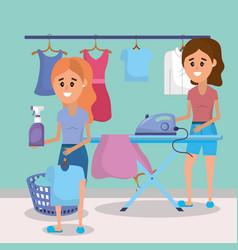 Women on laundry vector