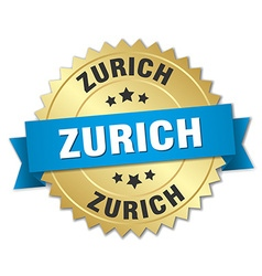 Zurich round golden badge with blue ribbon vector