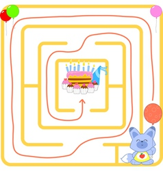 Birthday party maze vector image vector image