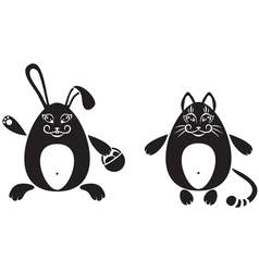 cat and a rabbit vector image vector image