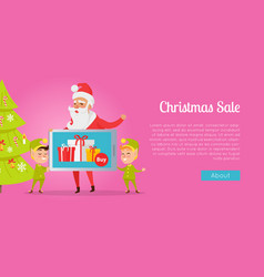 christmas sale greeting card with santa and elves vector image