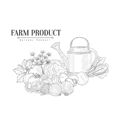 Fresh Farm Food And Watering Can Hand Drawn vector image vector image