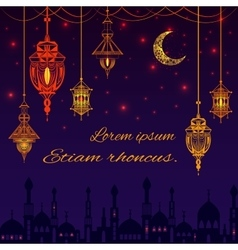 Greeting card with silhouette of mosque text for vector image