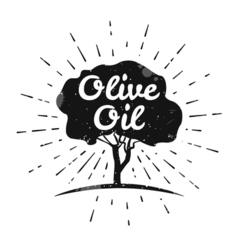 Olive label logo design Olive tree vector image