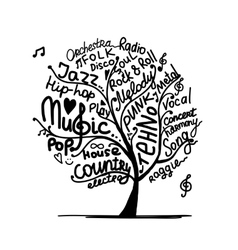 Music tree sketch for your design vector image vector image