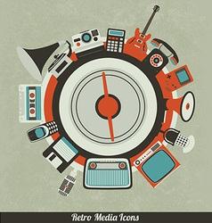 Retro Media Icons vector image vector image