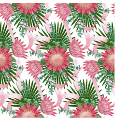 seamless pattern withtropical wedding bouquet vector image vector image
