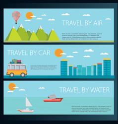 set of horizontal travel banners in flat style vector image vector image