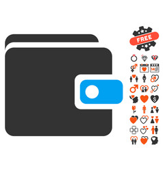 wallet icon with lovely bonus vector image