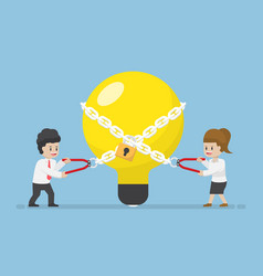 businessman trying to unlock light bulb of idea vector image vector image