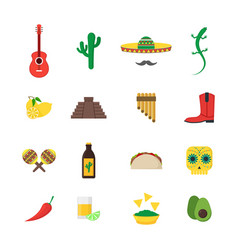 cartoon mexican culture color icons set vector image vector image