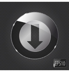 Glass download button icon on metal background vector image